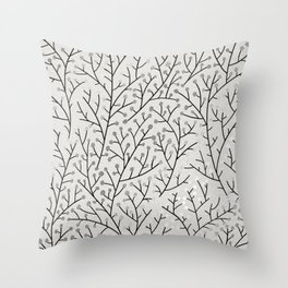 Berry Branches – Silver & Black Throw Pillow