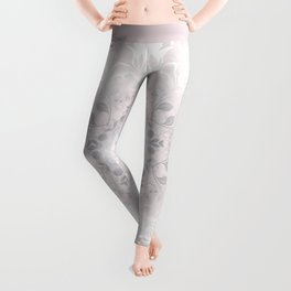 Blush Gray White Floral Mandala Leggings