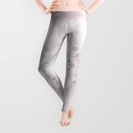 Blush Gray White Floral Mandala Leggings