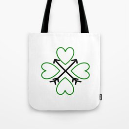 St. Patrick's Day Shamrock Lucky Charm Green Clover Veart with Arrows Tote Bag