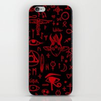 notebook iPhone & iPod Skins featuring notebook scribbles for satan by Mel Fox