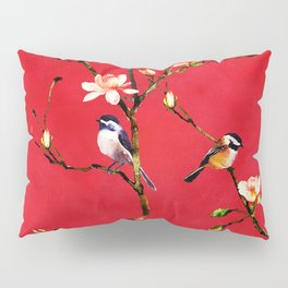 Watercolor Chickadees on a Flowering Magnolia Branch Pillow Sham