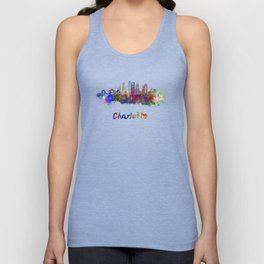 Charlotte skyline in watercolor Unisex Tank Top