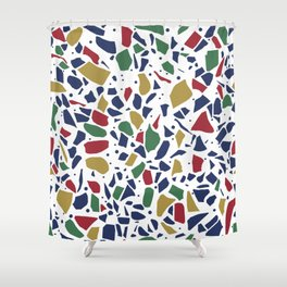 Terrazzo Spot Color on White Shower Curtain