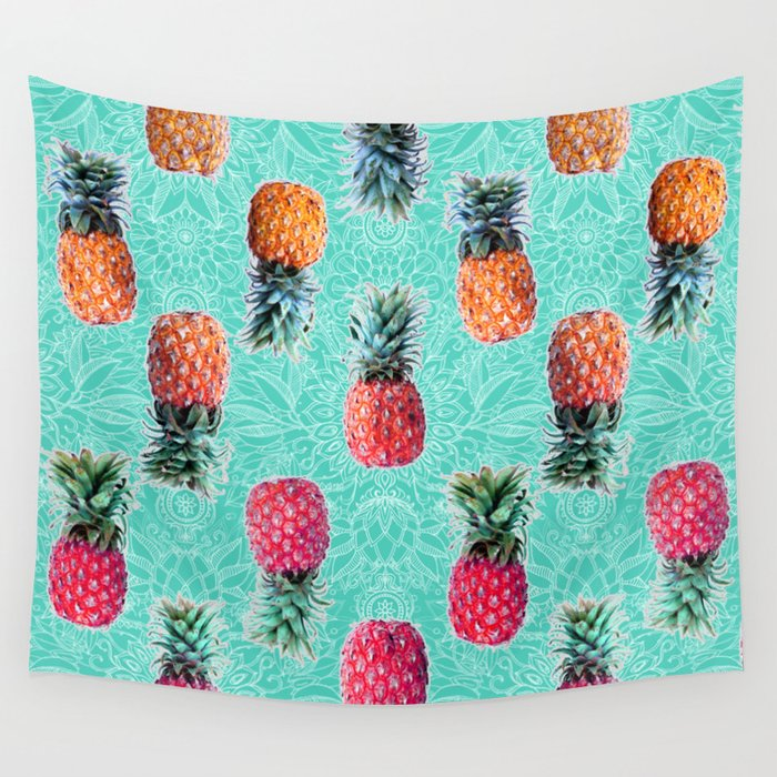 From Pineapple to Pink - tropical doodle pattern on mint Wall Tapestry