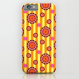 Colorful Retro Mod Flowers on Stripes iPhone Case