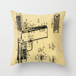 Browning Firearm Support Patent Drawing From 1911 Throw Pillow