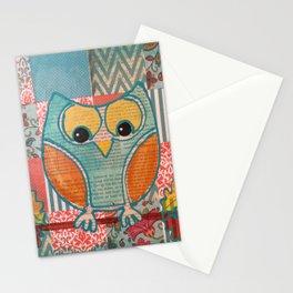 Blue Folk Owl Stationery Cards