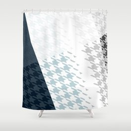 Modern Houndstooth Reinterpreted A – Navy / Gray / White Checked Pattern Shower Curtain