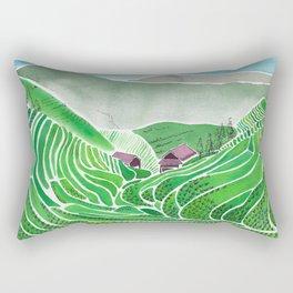Terraced Rice Paddy Fields Rectangular Pillow