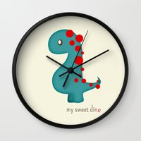 dino Wall Clocks featuring Dino by Jane Mathieu