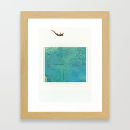 Dive into a map Framed Art Print