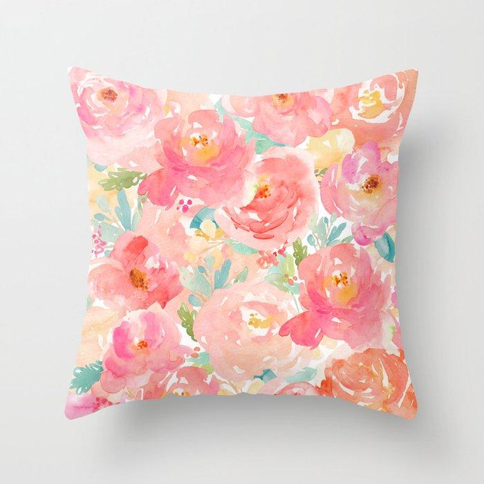 Preppy Pink Peonies Throw Pillow