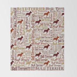 Bull Terrier Dog Word Art pattern Throw Blanket