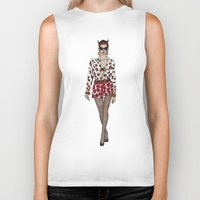 moschino Biker Tanks featuring Moschino fashion illustration roses  by Cinnamoncafexx