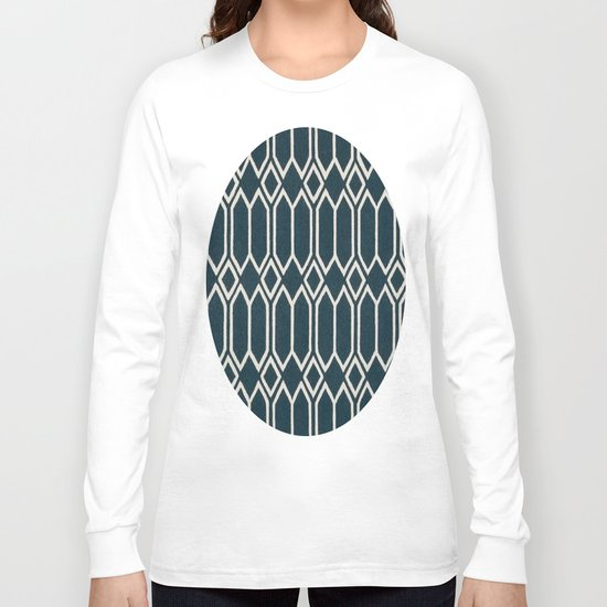 Geometrics in Blue and White Diamonds Long Sleeve T-shirt