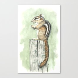 Chipmunk on a Fence Post - Watercolor Canvas Print