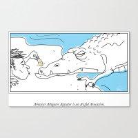 bad idea Canvas Prints featuring Teasing an Alligator = Bad Idea by WALToONs