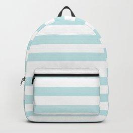 Duck Egg Pale Aqua Blue and White Wide Horizontal Beach Hut Stripe Backpack