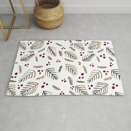 Christmas tree branches and berries - grey and burgundy Rug