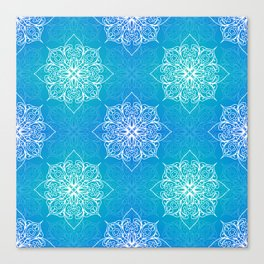 Aqua Mandala Pattern Canvas Print