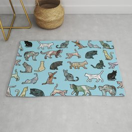 Cats shaped Marble - Sky Blue Rug
