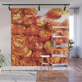 Cluster Of Orange Roses Wall Mural