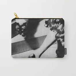 Friends on the Stairs, Siamese cat and woman passing in the night black and white photograph Carry-All Pouch