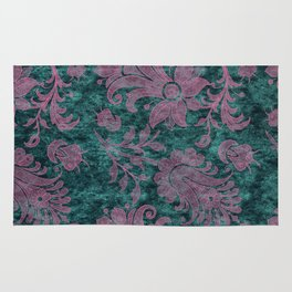 Burgundy Turquoise Velvet Floral Pattern 06 Rug