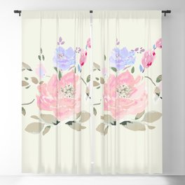 Spring watercolor flowers center piece on light background Blackout Curtain