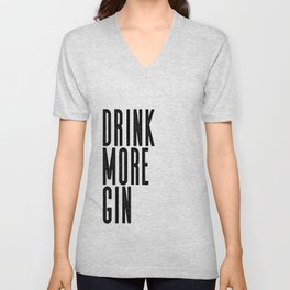 Witty Gin Marble Poster, Drink More Humour, Alcoholic Gin & Tonic Life, British Bar Humour Unisex V-Neck