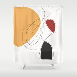 647-1-1, Red Orange and Black, Abstract Line Art, Trendy home decor, Shower Curtain