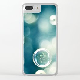 Bubble Photography, Teal Bathroom Art, Turquoise Aqua Laundry Photo Clear iPhone Case