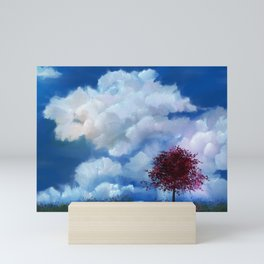 Red Tree in the Clouds Mini Art Print