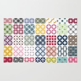 Colorful patchwork from geometric shapes Rug