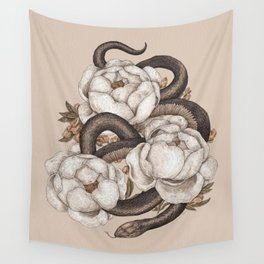Snake and Peonies Wall Tapestry