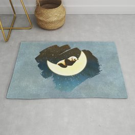 Sleeping Panda on the Moon Rug