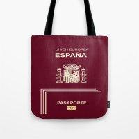 spanish Tote Bags featuring Spanish Passport by Dano77