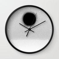 physics Wall Clocks featuring BLACK HOLE by DANIEL COULMANN
