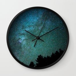 Colorful Green Blue Milky Way Night Sky With Tree Silhouette Wall Clock
