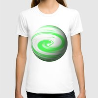 lime green T-shirts featuring Lime Green & Milky White Sphere by Moonshine Paradise