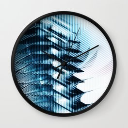 Futuristic building? Illusion with striped shapes and abstract light Wall Clock