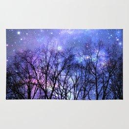 Black Trees Lavender Periwinkle Blue Pink Space Rug