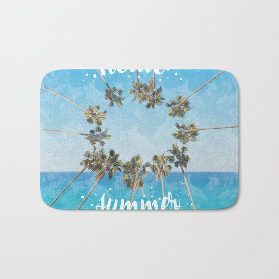 hello summer palm trees design 2 Bath Mat