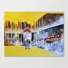 Mixed Media Art Yellow Rain Canvas Print