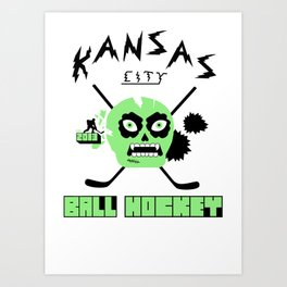 Kansas City Ball Hockey Thrashed Skull [Green] Art Print