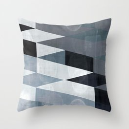 blue abstract, abstract art, office art, contemporary art, geometric print, modern painting, mid cen Throw Pillow