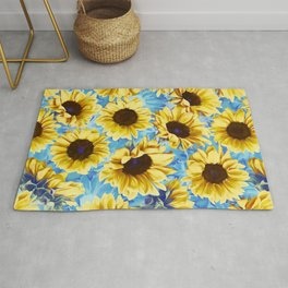 Dreamy Sunflowers on Blue Rug