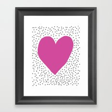 Pink heart with grey dots around Framed Art Print