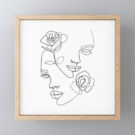 Faces and roses, minimal line art  Framed Mini Art Print